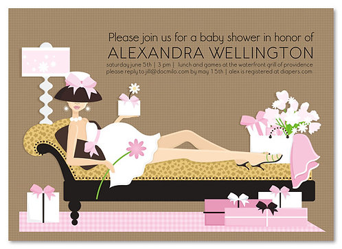 Pink Leopard Chaise Mom Baby Shower Invitations