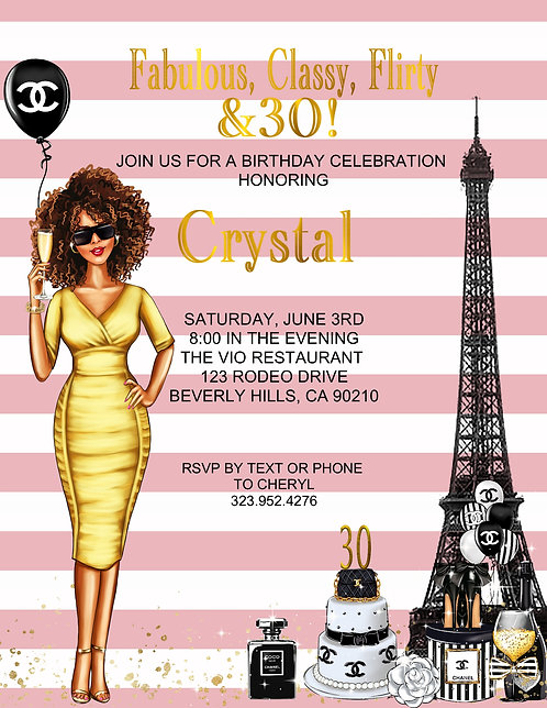 Chanel Birthday Party Afro American & Event Invitation (sold in sets of 10)