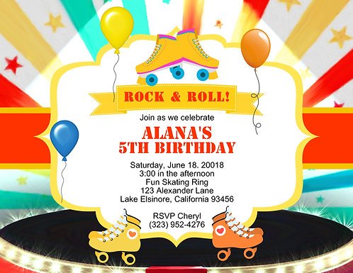 Rock & Roll Skate Party and  Event Invitation (sold in sets of 10)