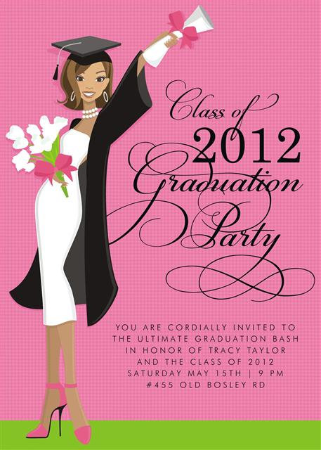 African American Glamour Girl Grad Party and Event Invitation