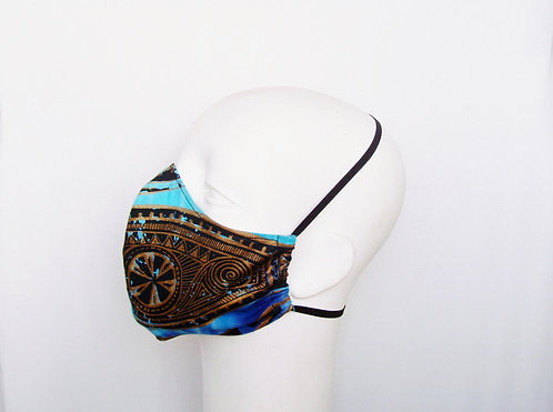 African Print Contoured Face Mask with Filter Pocket