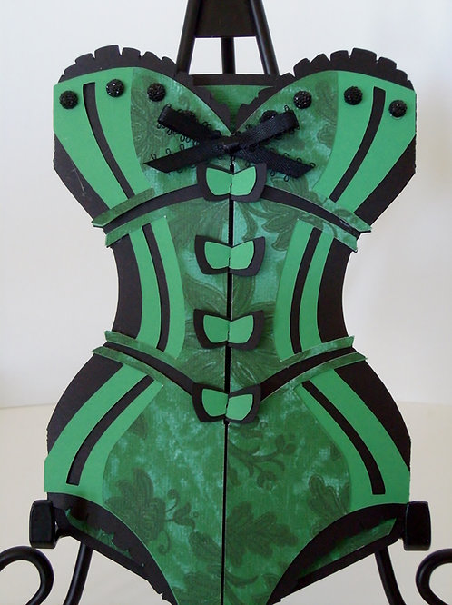 Emerald Green & Black Damask Corset Invitation