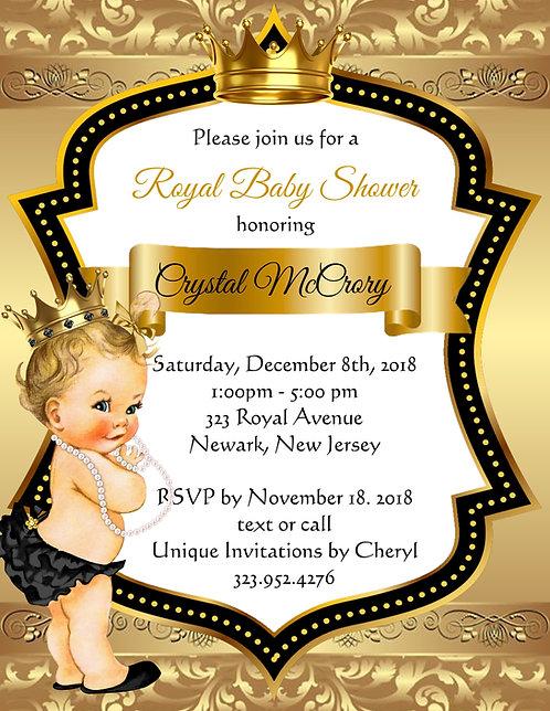 Golden Blonde Little Princess Baby Shower Invitations (sold in sets of 10)