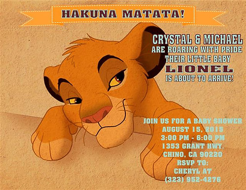 Lion King Baby Face Baby Shower Invitations (sold in sets of 10)