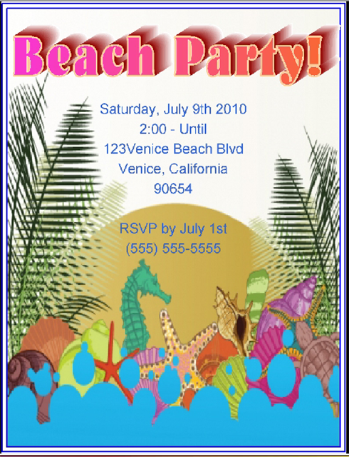 Beach Party Invitation and  Event Invitations