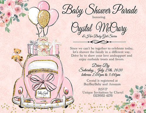 Girl Baby Shower Parade Invitations (sold in sets of 10)