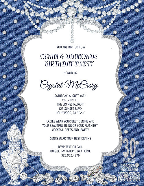 Denim & Diamond Birthday Invitation (sold in sets of 10)