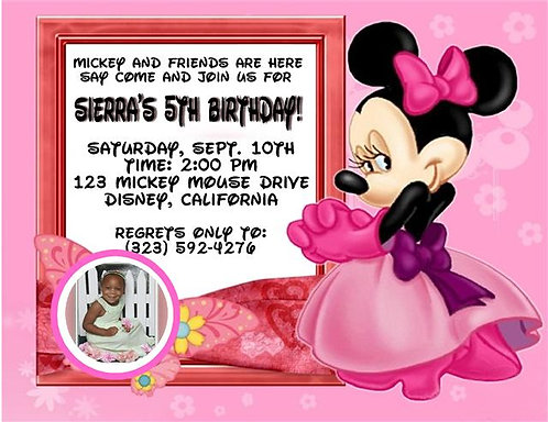 Minnie Mouse Dress Up Birthday Party Invitation