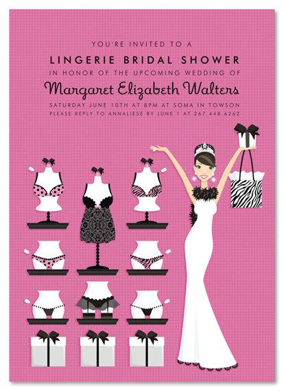 Brunette Lucky in Love Lingerie Invitations Bridal Shower and  Event Invitation