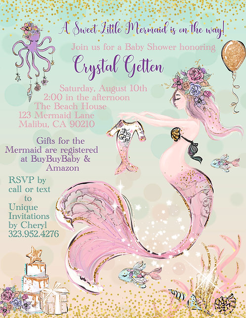 Pink Mermaid Baby Shower Invitations (sold in sets of 10)
