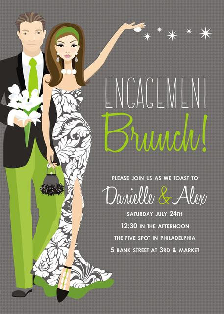 Brunette Couples Engagement Brunch Bridal Shower and  Event Invitation
