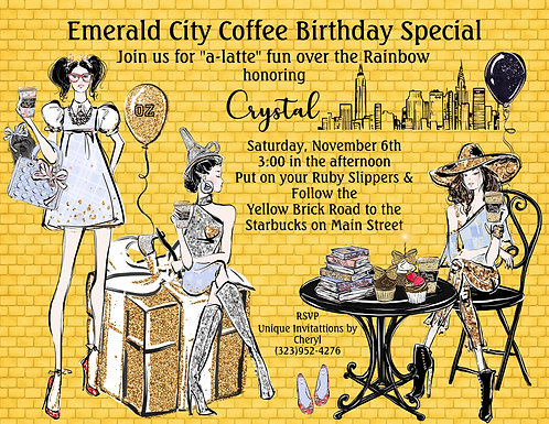 Emerald City Coffee Shop Birthday Party  Invitation (sold in sets of 10)