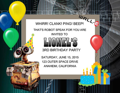 Wall-E Birthday Party Invitation