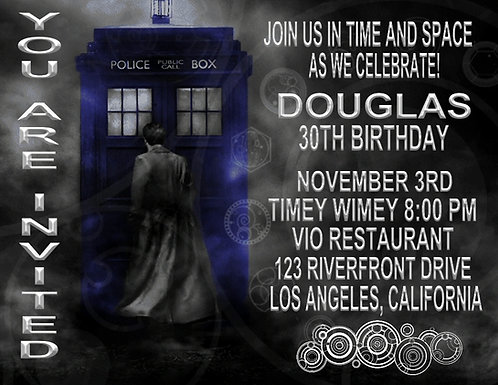 Dr Who Birthday Party and  Event Invitation