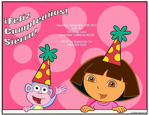 Dora Fiesta Birthday Party Invitation