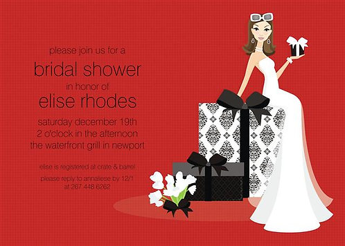 Brunette Holiday Bride Present Party and  Event Invitation