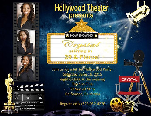 Hollywood Birthday Party and  Event Invitation
