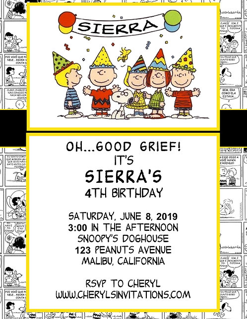 Peanuts Comic Birthday Party and  Event Invitation (sold in sets of 10)