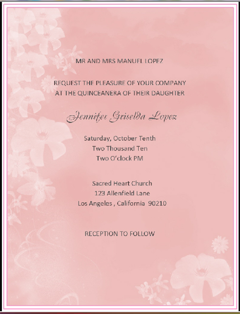 Quinceanera Pink Candy / Event Invitation