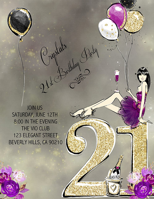 21st Birthday Party Brunette and  Event Invitation (sold in sets of 10)