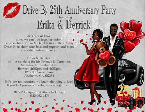 African American Anniversary Hearts & Balloons Invitation (sold in sets of 10)