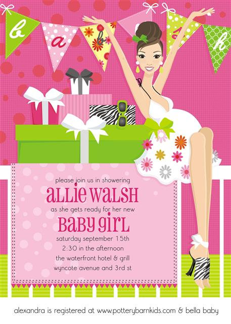 Pink Banner Brunette Baby Shower Invitations