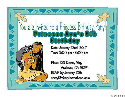 Pocahontas Birthday Party Invitation