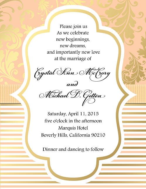 Gold Coral Wedding / Event Invitation