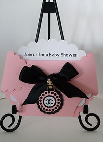 Designer Chanel Diaper Baby Shower  Invitation