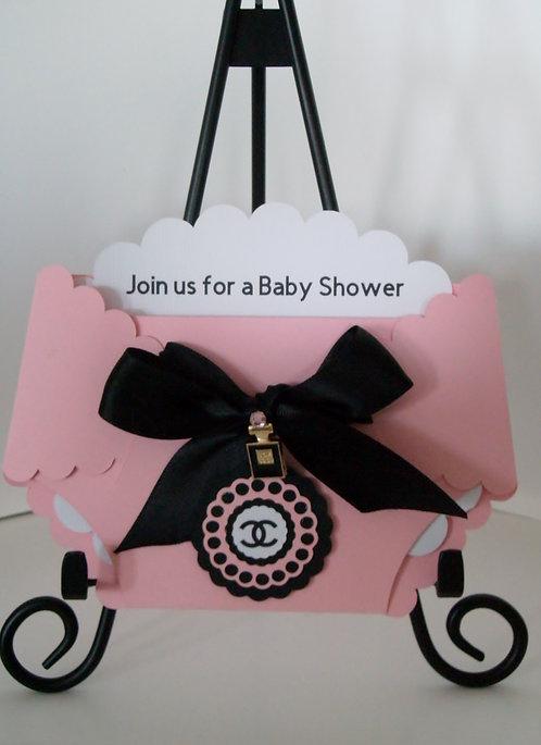 Chanel Pink Diaper Invitation