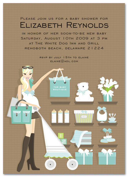 Blue Shopping Baby Invitations