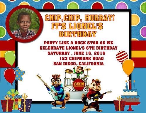 Chipmunk Band Birthday Party Invitations