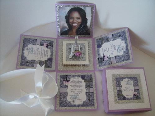 """""""I Love Paris"""" Lavender Custom Exploding Box Event Invitatio"""