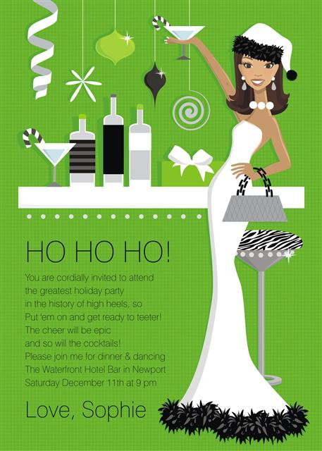 Hip Holiday Hostess Afro American Party and  Event Invitation