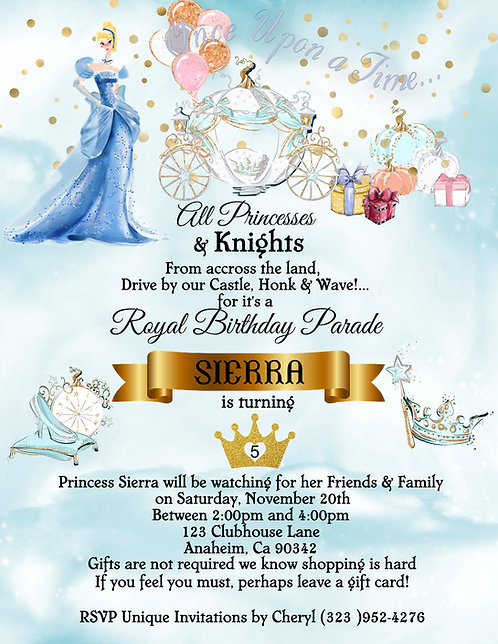 Princess Cinderella's Drive-By Birthday Party Invitation (sold in sets of 10)