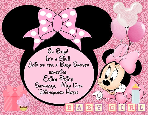 Baby Minnie Baby Shower Invitation