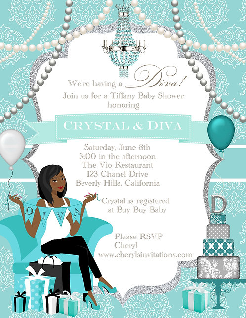Tiffany Diva  Baby Shower Invitations (sold in sets of 10)