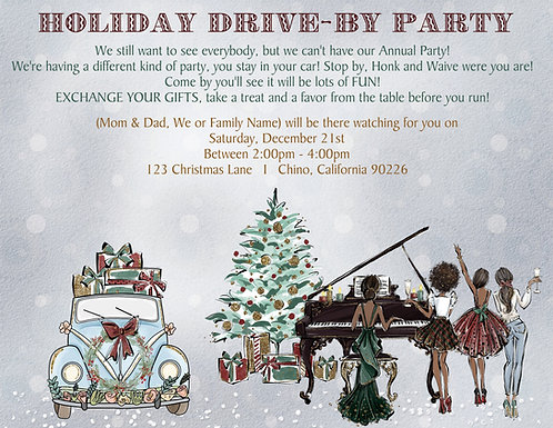 African American Holiday Drive By Party Invitation (sold in sets of 10)
