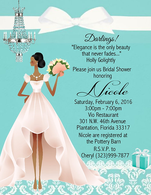 African American Tiffany Bridal Shower Party and  Event Invitation
