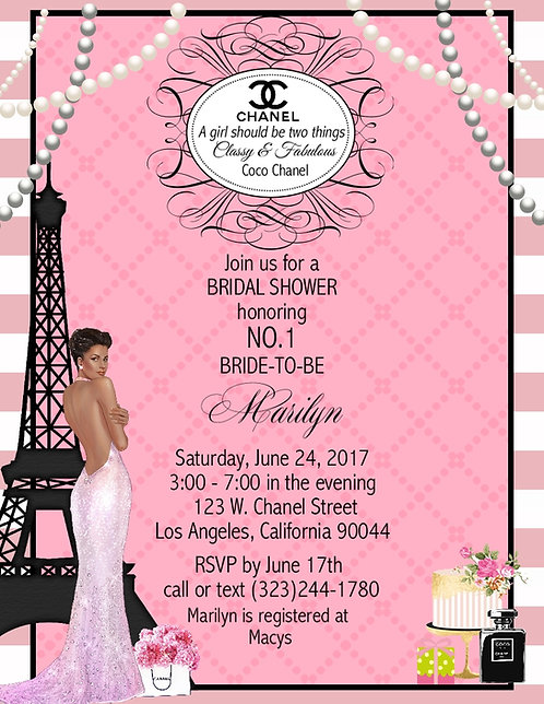 African American Paris Chanel Bridal Shower Party and  Event Invitation
