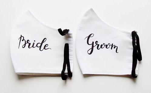 Bride & Groom Contoured Face Mask  with Filter Pocket
