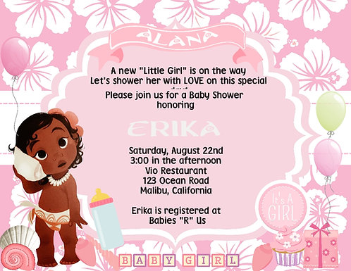 Baby Moana Baby Shower Invitation