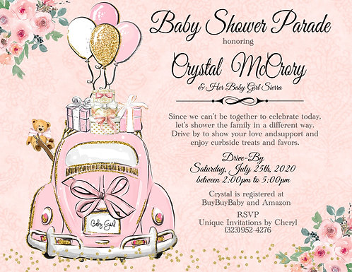 African American Girl Baby Shower Parade Invitations (sold in sets of 10)