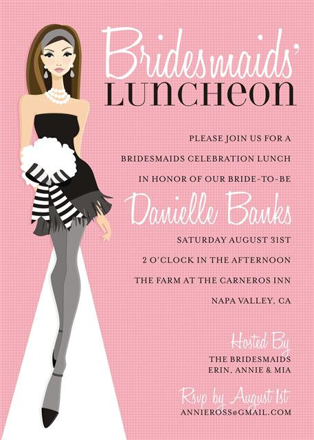 Pink Brunette Bridesmaid Luncheon Bridal Shower and  Event Invitation