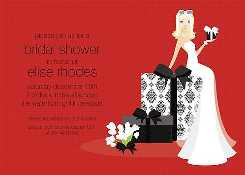 Blonde Holiday Bride Present Party and  Event Invitation