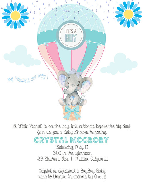 Blue Elephant Baby Shower Invitations (sold in sets of 10)