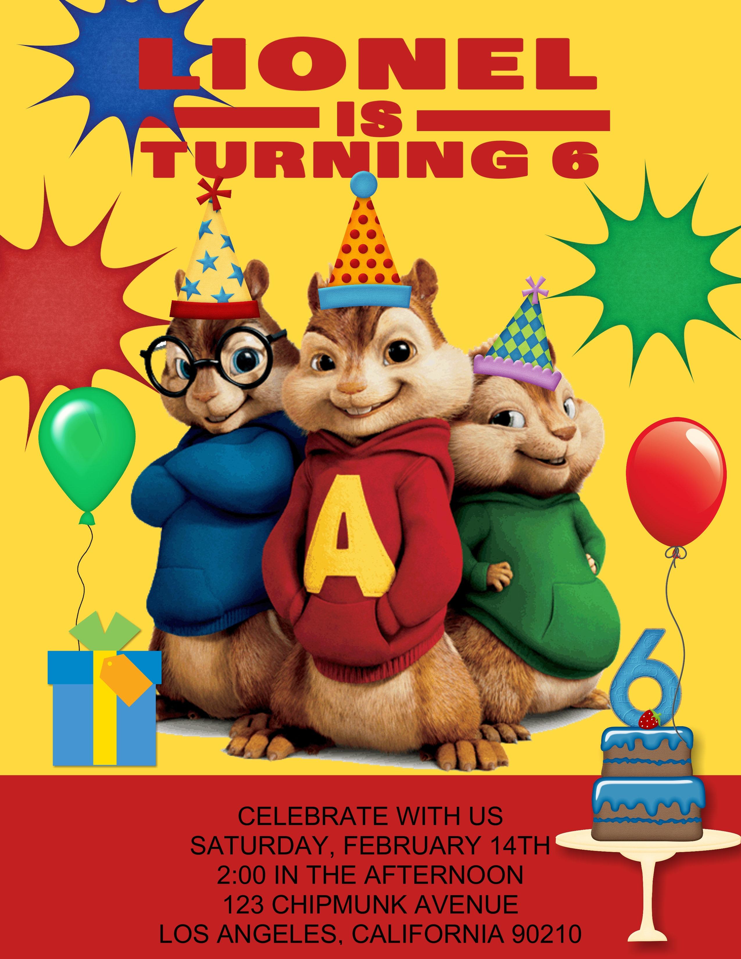 Alvin The Chipmunks Birthday Party Invitations