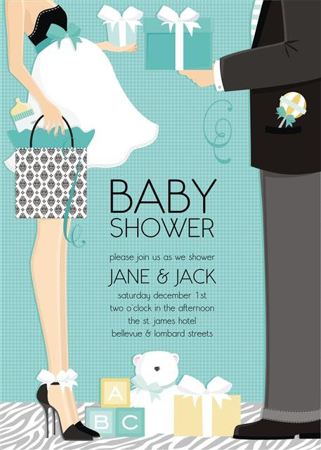 Couple Blue Trendy Baby Shower Invitation