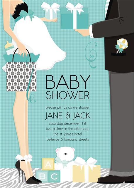 Couple Blue Trendy Baby Shower Invitation