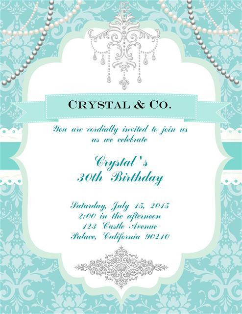 Tiffany Birthday Party and  Event Invitation